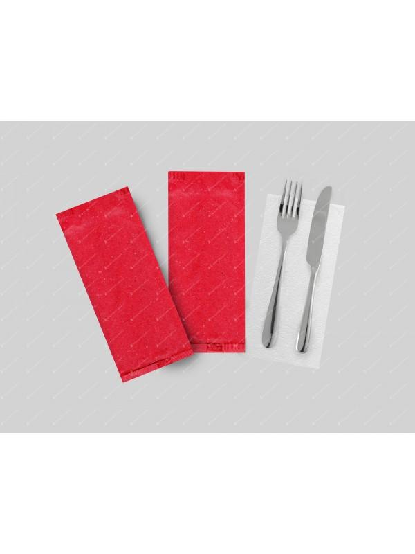 Portaposate Di Carta Veneziana Rosso Con Tovagliolo 38x38